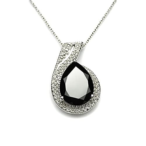 HIFLYER JEWELS Colgante de espinela negro para collar de plata de ley 925 colgante de diseño colgante de espinela joyería para mujeres y niñas