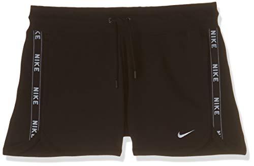 Nike Damen W NSW FLC Logo Tape Shorts, Black/White, XL