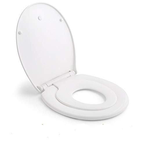 Sedile WC, HIMIMI Copriwater per Famiglia con Chiusura Rallentata & Misura Standard, Coperchio wc universale per Famiglia 2 in 1 Adulti e Bambini a Forma Ovale & Rapido Installare(447 * 371 * 55mm)