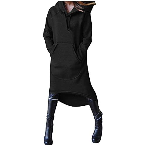 Zldhxyf Sudadera con capucha para mujer, larga hasta la rodilla, grande, con bolsillo, informal, monocolor, manga larga, para otoño e invierno, Negro , XXXXL