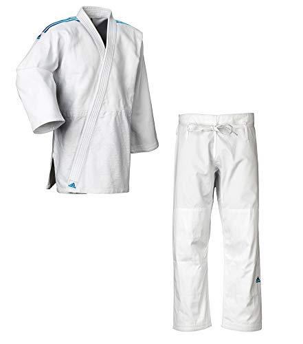 adidas Judo-Anzug Contest weiß/Blaue Streifen (185)