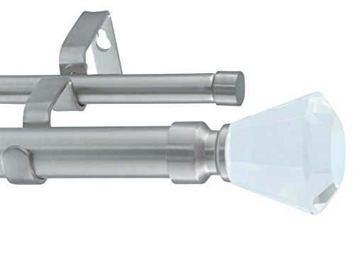 MERIVILLE 1-Inch Diameter Tondo Telescoping Double Window Treatment Curtain Rod, Crystal Finial, 28-Inch to 48-Inch, Satin Nickel
