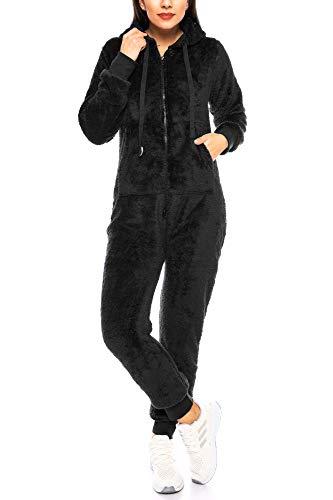 Crazy Age Damen Jumpsuit aus kuscheligem Teddy Fleece | Overall | Ganzkörperanzug Flauschig |Homewear (Schwarz, S~36)