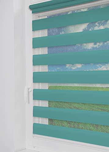 Tom'Shop® Doppelrollo [Türkis, 50cm x 150cm] Duo Rollos für Fenster Klemmfix ohne Bohren mit Klämmträger Fensterrollo