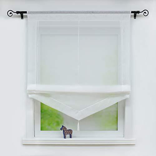 Joyswahl Voile Raffrollo mit Quaste Transparenter Dreieck Rollos mit farbigem Blende »Julia« Schals Fenster Gardine mit Tunnelzug BxH 45x140cm Weiß 1 Stück