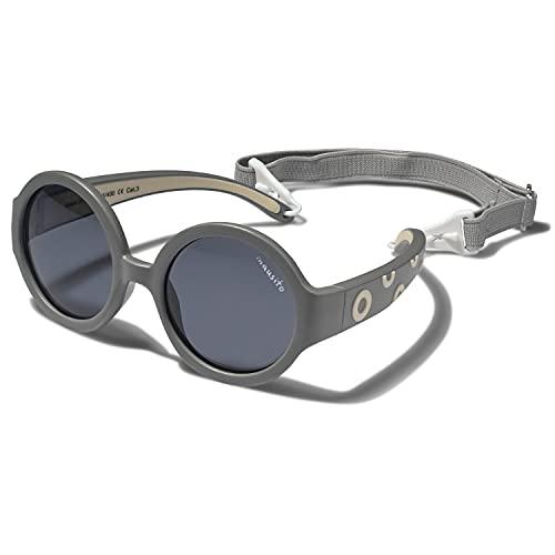 Mausito® Kinder Sonnenbrillen Jungen 1-2 Jahre I Biegsame Baby Sonnenbrille mit Band I 100% AUGEN UV Schutz 400 I Ultraleichte Sonnenbrille für Kleinkinder I cool baby sunglasses I Geschenk I Grau