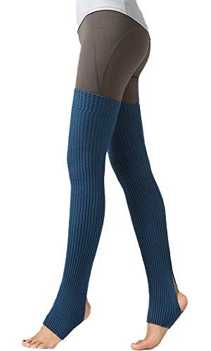 Nanxson Damen Beinwärmer Winter Gerippt Gestrickt Beinstulpen Strumpf für 80er Jahre Party Dance Sport Yoga TTW0072 (blau)