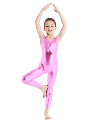 Freebily Maillots de Danza Ballet Gimnasia Rítmica Artística Niñas Leotardo de Práctica Fitness Yoga Bodys Monos Básico Elástico Ropa Deportiva de Una Pieza sin Mangas Rosa 5-6 años