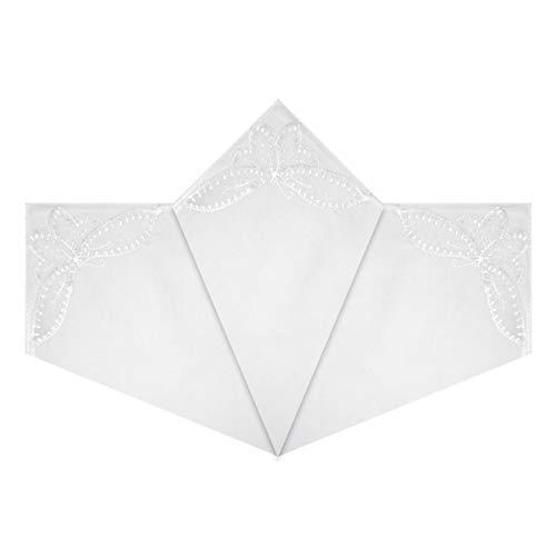Warwick & Vance Pack de 3 pañuelos de mujer con esquinas de encaje de mariposa, 100% algodón, 29 x 29 cm