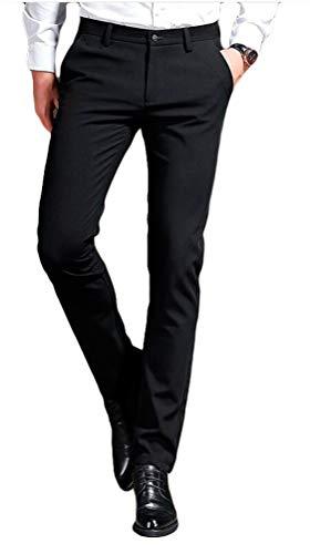 MiBotong Men's Slim Fit Black Dress Pants Wrinkle-Free Stretch Casual Pants Comfort Suit Pant Dress Trousers Black 30Wx29L