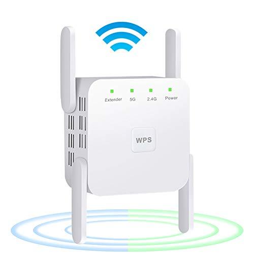 WLAN Repeater WLAN Verstärker 1200Mbit/s, Dualband 5GHz 2.4GHz WiFi Extender Port Ethernet/LAN/WPS, AP Repeater Router Kompatibel zu Allen WLAN Geräten