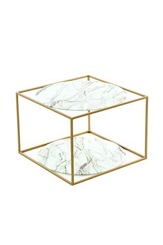 BuyDream Mesa Auxiliar en Forma de Cubo ODY 110 Blanco - mármol/Oro, Dos estantes Redondos, Abierto, Moderno, 50 cm (L/D) x 50 cm (W) x 36 cm (H)