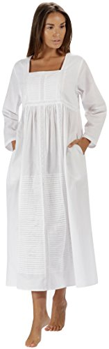 The1forU Nachthemd 100% Baumwolle - Damen Lang Viktorianisch Nachthemd Esther - Weiß, 4XL