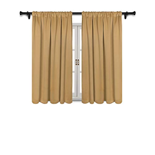 SUO AI TEXTILE Blackout Room Darkening Curtains Thermal Insulating Window Drapes Solid Rod Pocket Top Window Curtain Panels Light Reducing Drapery,52Wx63L,Gold,2 Curtain Panels