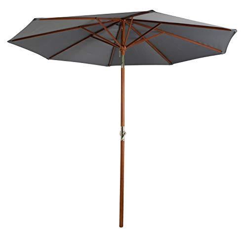 Pure Home & Garden Holz Sonnenschirm Hout 300 cm anthrazit, mit UV-Schutz 50 Plus, Kurbel, Knickfunktion und abnehmbarem Bezug
