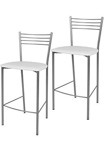 Tommychairs - Set 2 taburetes Elena para Cocina y Bar, con Estructura en Acero Pintado Color Aluminio y Asiento tapizado en Polipiel Color Blanco