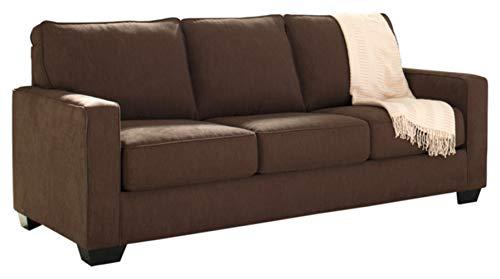 Signature Design by Ashley - Zeb Contemporary Microfiber Sleeper Sofa - Queen Size Mattress - Espresso