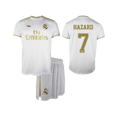 Conjunto Camiseta y pantalón 1ª equipación del Real Madrid 2019-20 - Replica Oficial con Licencia - Dorsal 7 Hazard - Niño Talla 8