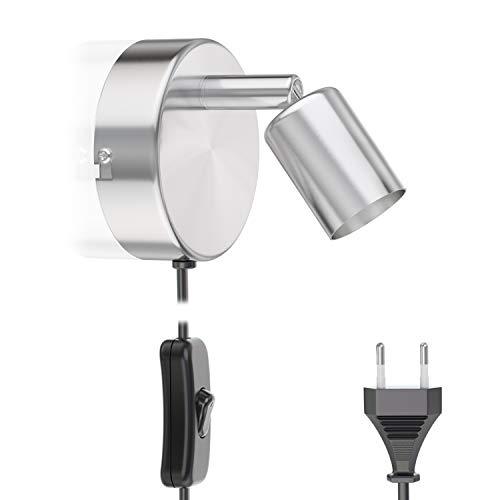 ledscom.de Lámpara de Lectura LUNARA con Interruptor y Enchufe crómico Mate GU10 lámpara de Pared