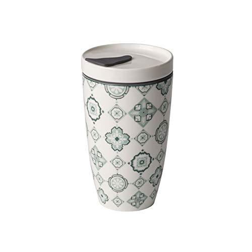 like. by Villeroy und Boch To Go Jade Coffee-to-Go-Becher, 2-teilig, 350 ml, Premium Porzellan/Silikon, Grün/Grau