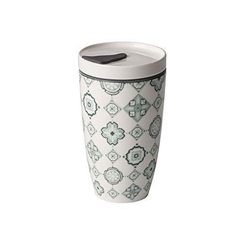 like. by Villeroy & Boch To Go Jade Coffee-to-Go-Becher, 2-teilig, 350 ml, Premium Porzellan/Silikon, Grün/Grau