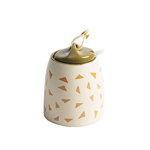 Vaciar botellas de la especia Cerámica condimentos Botella con cuchara especia Home Box organizador del almacenaje de herramienta de la cocina for Sal Pimienta Azúcar ( Color : Amarillo , Size : M )