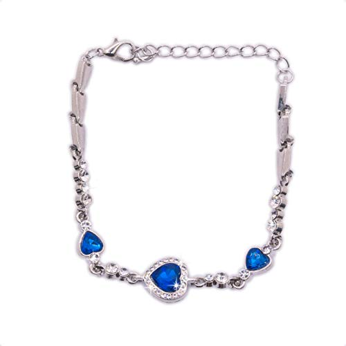 Donatio Ocean Blue Rhinestone Crystal Silver Color Bracelet For Women Girl