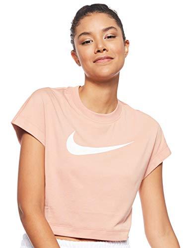 NIKE W NSW Swsh Top Crop SS Camiseta, Mujer, Rose Gold/White, L