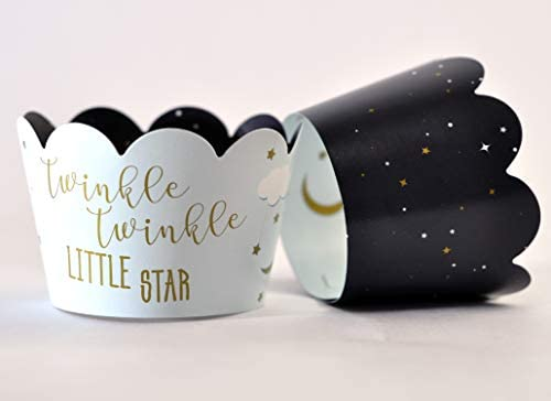 Twinkle Twinkle Little Star Cupcake Wrappers for Gender Reveals Baby Showers party supplies product image