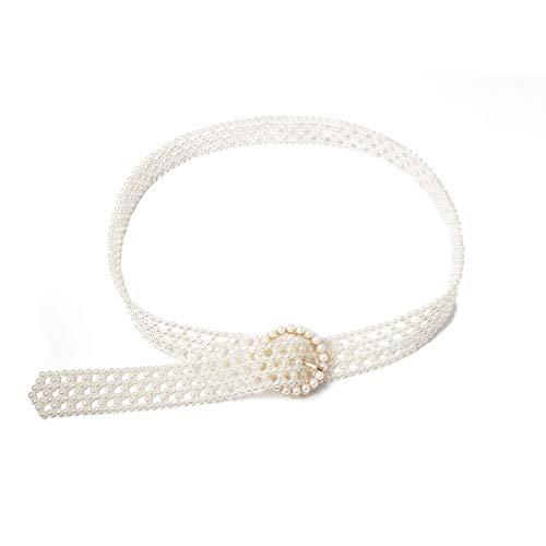 HUXIZ Belts Böhmische nachgemachte Perlen-Gürtel Kette for Frauen Statement 2019 Art und Weise lange Charm Bauchkette weiblicher Körper-Schmuck (Farbe : Silver)