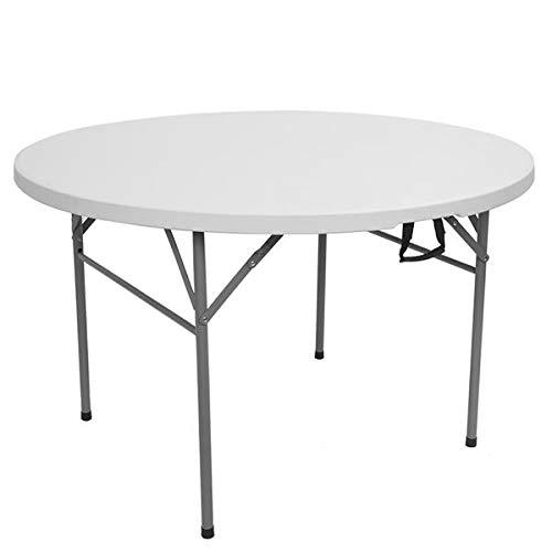 Mesa plegable redonda de 48' para exteriores, plegable, color blanco, beige