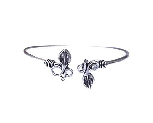 Brazalete con diseño de serpiente para mujer y niña, unisex, auténtico brazalete hecho a mano, brazalete, brazalete tribal étnico budista bohemio, hecho a mano en plata de ley plateada