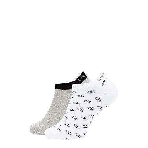 Calvin Klein Socks Mens Liner 2p All Over ck Logo Eduardo Socks, White Combo, 39/42