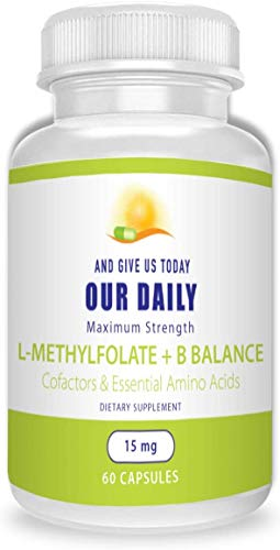 Our Daily Vites L-Methylfolate 15 mg B Complex Balance 5 MTHF Active Folate, Methylated B12, B9, B6, B2 Brain, Heart and Fetal Health, Non-GMO, 60 Count 2 Months