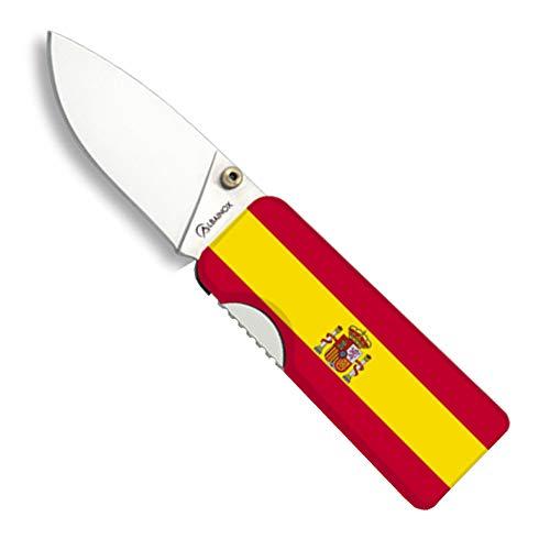 Tiendas LGP Albainox - 18604 - Navaja Albainox Billetera, Bandera de España, H:5 cm – con Pinza para Billetes, Herramienta para Caza, Pesca, Camping, Outdoor, Supervivencia y Bushcraft