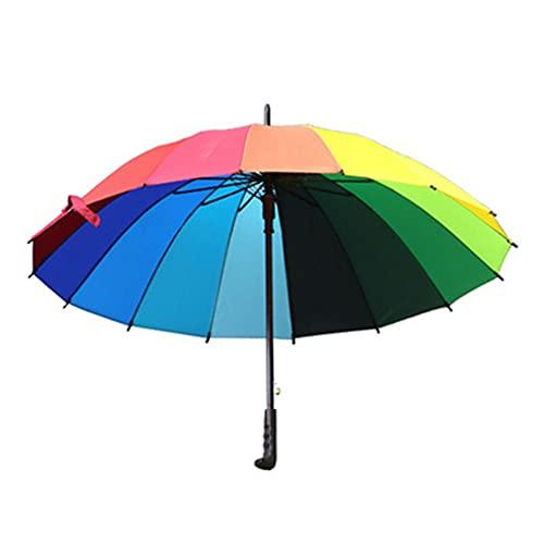 AOTEMAN Paraguas de arco iris impermeable de mango largo recto 16 K a prueba de viento viaje paraguas de golf hogar paraguas arco iris lluvia y lluvia paraguas, arcoíris,