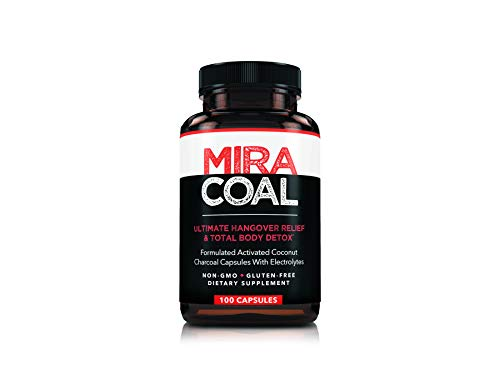 Miracoal Hangover Prevention and Relief Pills - by Organic Activated Charcoal Removes Toxins While You Sleep | Electrolytes for Faster Recovery | Wake Up Refreshed with No Side Effects