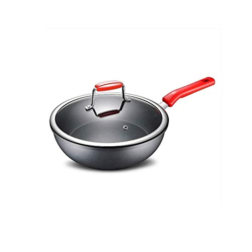 LQH Red Bratpfanne-Kochen Pan Non-Stick Nudel Kochen Milch Pfanne, Aluminium Bratpfanne mit Glasdeckel