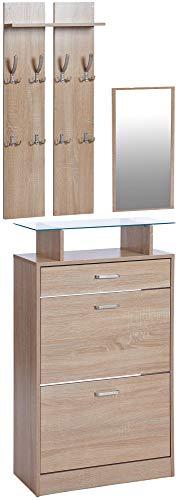 ts-ideen 3er Set Garderobe Spiegel Schuhkipper in Holzoptik Eiche Sonoma Schuhschrank mit Schublade und Ablagefläche aus Glas