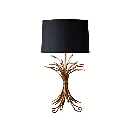 Black American Country Lámpara de mesa de lujo, dorada, para bodas, salón, estudio, dormitorio, lámpara de mesita de noche, lámpara de mesa decorativa de hierro, diseño de copo de nieve
