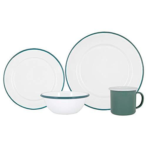 Argon Tableware 16pc esmalte de vajilla - placas de acero acampan al aire libre cuencos de café - verde