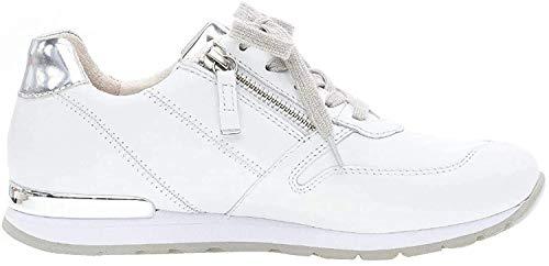 Gabor Damen Sneaker, Frauen Low-Top Sneaker,Comfort-Mehrweite,Optifit- Wechselfußbett, Ladies feminin elegant Women,Weiss/Silber(Ring),42 EU / 8 UK