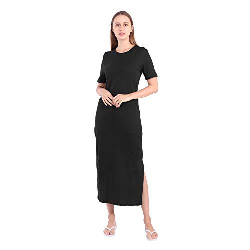 Largos Vestido Mujer Verano Casual Elegante Fiesta Sexy Playa Boho Algodón Negro Maxi Vestidos Tallas Grandes (Negro, large)