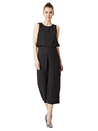 Miss Chase Women's Midi Layered Crepe Jumpsuit(MCAW17D09-61-62-05,Black,Large)