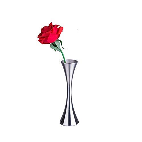 Miniflorero pequeño IMEEA® para decoración del hogar, sala de estar, oficina y centros de mesa de acero inoxidable, 17 cm de alto
