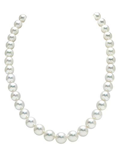 8- 10 mm, colore: Bianco perla coltivata in acqua salata The Pearl Source-Collana di lunghezza e 17 ', motivo: principessa, chiusura a moschettone in oro 14 k e Oro giallo, colore: oro/bianco, cod. 1