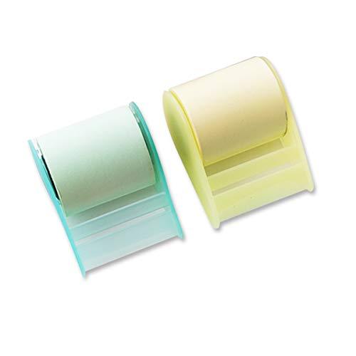 Cinta adhesiva para notas adhesivas, 2 unidades, cinta adhesiva de papel, papelería, suministros de oficina, suministros para estudiantes (amarillo, verde)
