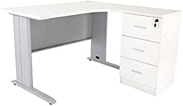 Mahmayi Wood Modern Office Workstation Desk, ME1212WH, White, H75 x W160 x D120 cm, Require Assembly