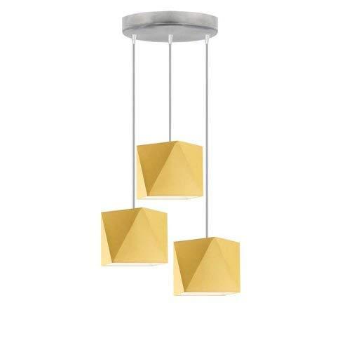 Lámpara de techo MAJORKA con pantalla de lámpara, color amarillo mostaza, marco plateado