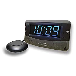 Sonic Alert Dual Extra Loud Alarm Clock with Bed Shaker | Sonic Boom Vibrating Alarm Clock for Heavy Sleepers, Battery Backup | Wake with a Shake